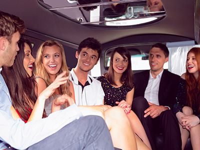 kids at prom in back of limo
